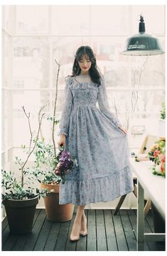 Korean Fashion Dress, Korean Dress, Ulzzang Fashion, Korean Outfits, Mode Outfits, Skirt Fashion, Dress Outfits, Fashion Dresses, Korean Fashion Styles