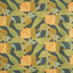 Art Deco Art Nouveau Yellow Green And Blue Linen Upholstery Fabric | Archibald Knox Blaaghyn Corneilagh Linen from Loome Fabrics