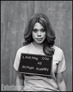 Cast of Orange is the New Black, Sophia Burset, great tv, mugshot, powerful face, intense eyes, portrait, b/w