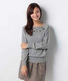 Amazon.co.jp: PREFERIR(プレフェリール) ビジュー付 ニット セーター (ビーズ付 アンゴラ ニット) 20622 M グレー: 服&ファッション小物
