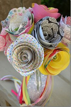 Rolled Paper Flowers - with American Crafts Sketchbook Paper made with Silhouette