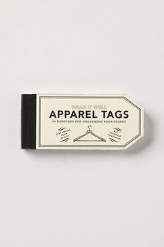 Going to get these!  to use: hang this tag from clothes hanger, write reminders on it. (cleaning, size, etc)  I made my own similar tags for all my black dress slacks as well as for all my jeans and wrote which type of shoe to wear with each, weather they were skinny jeans or wide leg pants, etc.