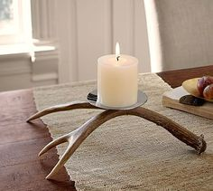 Antler Single Pillar Holder #potterybarn - this would be nice at Thanksgiving or Christmas with greenery underneath, etc.