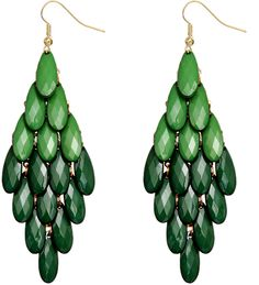 Green Two Tone Faceted Bead Cascade Dangle Earrings - Candy Luxx