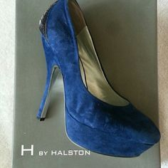 H by Halston Navy Blue Suede Pumps Super cute suede pumps with pewter metal cage design on back of heel. 5.5 inch heel with 1.5 inch platform. Never worn. Too tight due to pregnancy! H by Halston Shoes Heels