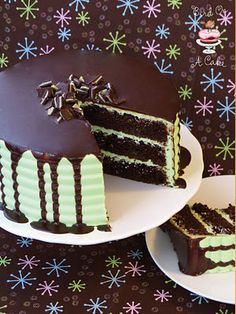 Andes Mint Chocolate Cake  1 c. boiling water   2 c. sugar   1 3/4 c. flour   3/4 c. cocoa powder   2 t. baking soda   1 t. baking powder   1 t. salt   2 eggs   1 c. buttermilk (OR 1 c. milk mixed with 1 T. vinegar)   1/2 c. oil   1 t. vanilla   1 c. chopped Andes Mints   Ganache   1 c. semi-sweet chocolate chips   1 c. heavy cream   1 t. vanilla extract