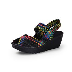 2017 New Shoes Woman Fashion Multi Colors Breathable Soft Platform Women Casual Shoes Wedge Sandals Lady Flat Shoes Flip Flops