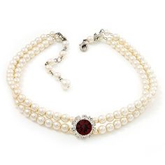 2 Strand Light Cream Imitation Pearl CZ Wedding Choker Necklace (With Ruby Red Coloured Central Stone) -- To view further for this item, visit the image link.