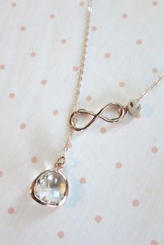 Personalised Rose Gold Glass Drop and Infinity by ColorMeMissy
