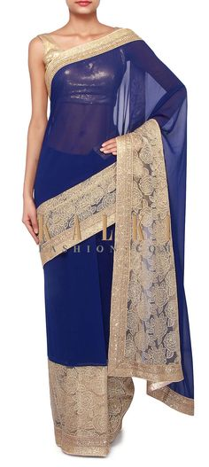 Buy Online from the link below. We ship worldwide (Free Shipping over US$100). Product SKU - 264970. Product Link - http://www.kalkifashion.com/royal-blue-saree-adorn-in-zari-and-kundan-embroidery-only-on-kalki.html