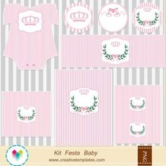 Kit festa imprimir - Coroa de princesa mod:45 Printable Party - Princess