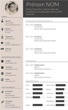 ✿ Envie d'un CV design et tendance ? Plus If you like this cv template. Check others on my CV template board :) Thanks for sharing! Cv Design, Resume Design, Cv Template Professional, Professional Resume, Template Cv, Resume Templates, Conception Cv, Curiculum Vitae, Web Developer Resume