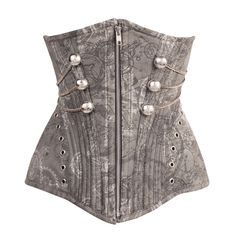 Long line, for longer torso, zip front Waist Training underbust with hip panels featuring an awesome grey mechanical / Steampunk design printed onto cotton twill. There are military style silver buttons and chains that swoop up towards the back of the corset. The hip panels are further emphasized with the top edge bordered with silver eyelets. The top edge and hem are shaped for a more flattering silhouette and to reduce bulges. Length is centre front length.