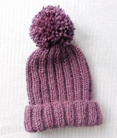 Knitted Ribbed Bobble Hat Pattern pom pom hat by OffTheHookBrum