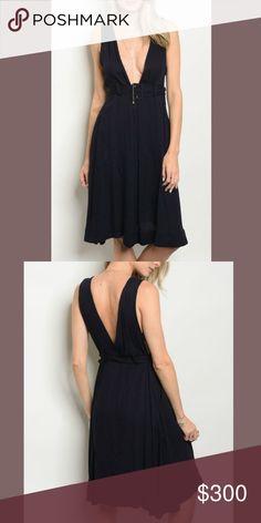 c2e99708583c Coming Soon Navy Blue Deep Plunge Midi Dress Navy Blue Deep Plunge Midi  Dress Please like