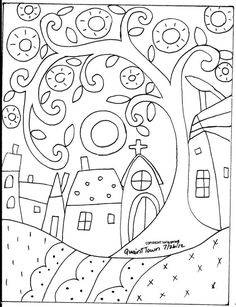 Rug Hooking Paper Pattern Quaint Town Folk Art Modern Primitive Unique Karla GNice pattern for a quilled scene. Quaint Town by Karla GerardYou are dealing with Karla Gerard, Maine Folk Art/Abstract Artist, Originator/Creator of concentric circles/flo Folk Embroidery, Paper Embroidery, Embroidery Ideas, Colouring Pages, Coloring Books, Motifs D'appliques, Bordado Popular, Karla Gerard, Art Populaire