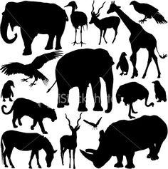 Zoo Animals Silhouette Series Royalty Free Stock Vector Art Illustration