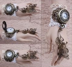 Steampunk and Gothic Jewelry by pinkabsinthe Steampunk Accessories, Jewelry Accessories, Fashion Accessories, Fantasy Jewelry, Gothic Jewelry, Victorian Vampire, Cos Dresses, Clock Tattoo Design, Steampunk Fashion