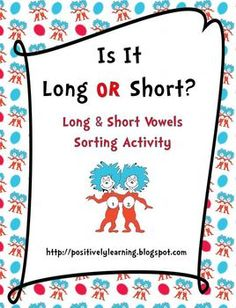 Here's a sorting activity featuring 60 long and short vowel text cards 60 picture cards. Students sort the cards (text, picture, picture, or both!) onto half-page sorting mats (4 formats to choose from). There are seven activity pages included to extend learning!