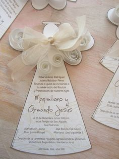Invitación angelito con filigrana en papel First Communion Cards, First Holy Communion, Baptism Ideas, Baptism Party, Baby Party, Communion Invitations, Christening Invitations, Card Wedding, Confirmation