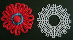 TUTO how to make the plastic canvas to create a flower...and tuto to make the flower with it ,very good idea. Merci ! http://www.knitting-and.com/small-looms/plasticcanvas.html