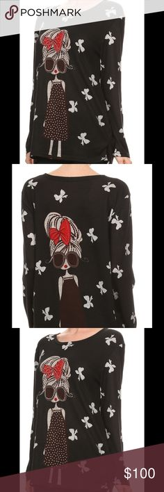✅New Arrival Print blouse with crew neck and rhinestone detailing. 90% polyester 10% spandex, stretch out Tops Blouses