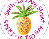 Tropical Pineapple Round Labels Stickers for use as Gift Tags, Party Favors, Address Labels & Class Parties | A great Etsy store for address labels