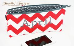 Personalized Cosmetic Bag, Custom made clutch, red chevron bag.