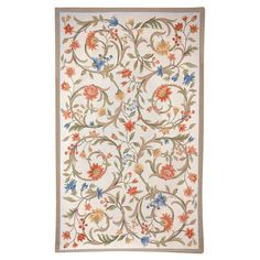Brighten up a neutral room with this beautiful hand-hooked wool rug, showcasing a flowing floral motif.   Product: RugCo...
