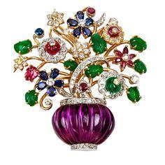14k and 18K Multi Gem Floral Basket Gold Pin Brooch | eBay..