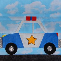 """Help is on the way! Paper pieced police cruiser pattern, 7"""" square. http://etsy.me/2Aq3Vk1 #supplies #quilting #vehiclepdfpattern #paperpiecedvehicle #paperpiecedpattern #vehiclequilt #kidsquiltpattern #paperpiecedpdf #foundationpieced"""