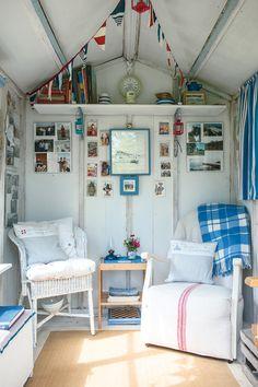 Inside garden beach hut