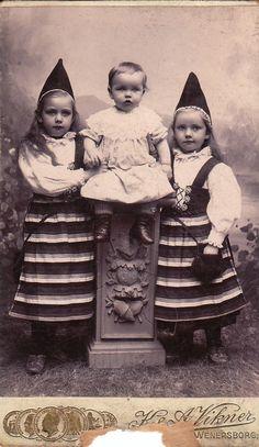 Children in Swedish Costume- Kyrkogatan, Sweden- 1800s Vintage Photograph- CDV