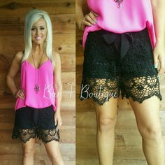 Laced to Perfection Shorts ~ Follow @bar_t_boutique on Instagram  to Shop weekly New Arrivals