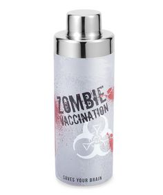 """Stir up an elixir that hopefully fights off the zombie apocalypse with this witty Cocktail Shaker. Featuring the phrase, """"Zombie Vaccination, Saves Your Brain,"""" this is the perfect barware accessory for a horror movie fan. Zombie Princess, Halloween Entertaining, Zombie Dolls, Wild Eyes, Cocktail Shaker, Shot Glasses, Zombie Apocalypse, Wine Cellar, Soap Dispenser"""