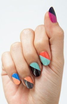 Mix and match colour block nail art for a colorful mani