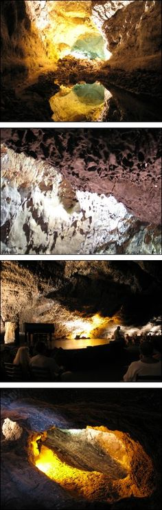 Cueva de los Verdes (Green Caves):  in the canary islands were formed 3K-5K years ago when surface lava cooled and hardened quickly while streaming lava continued to flow underneath the petrified basaltic layer. the lava tunnels can stretch for several kilometers, with some parts dropping well below sea level and reaching temperatures of up to six hundred degrees