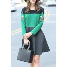 84.61$  Buy here - http://diqv3.justgood.pw/go.php?t=205280004 - Color Block Embroidered Mini Flare Dress 84.61$