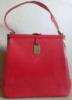 Red Leather Vintage Handbag 50s Kelly Purse by camelotvintage, $54.00
