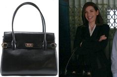 We found Alicia's (played by Julianna Margulies) sophisticated black work tote on sale for more than half off.Muska MilanoMuska Lizard Large Vanna Bag in Black, $950 $450, at muskamilano.com