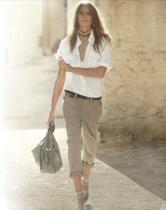 White Blouse & Casual Khaki