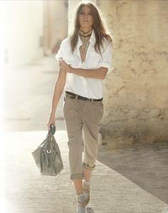 White Blouse & Casual Khaki