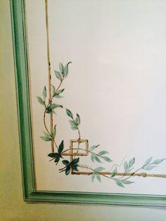 Detail of handpainted Wall - Gustavian style Hand Painted Wallpaper, Hand Painted Walls, Murals Street Art, Mural Art, Ceiling Murals, Wall Murals, Decoration, Art Decor, Painted Curtains