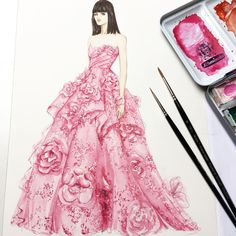 """2,152 Likes, 4 Comments - Jianlin Illustration (@jianlin_huang) on Instagram: """"Holiday vibes! ELIE SAAB Haute Couture Autumn Winter 2017-18 Collection. #ATaleOfFallenKings…"""""""