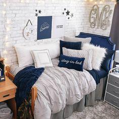 Light Grey Soft Loft Duvet Cover and Sham Set - Full/Queen College Bedroom Decor, Cool Dorm Rooms, Room Ideas Bedroom, Small Room Bedroom, Preppy Dorm Room, Dorm Room Designs, Cozy Room, Aesthetic Bedroom, My New Room