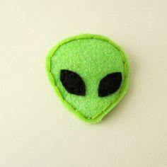 Glittery green alien head felt barrette hair by MoonriseWhims