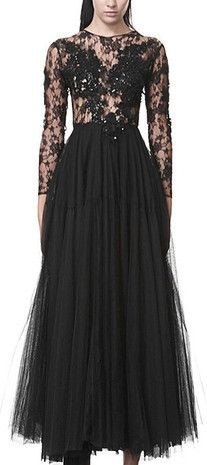 Long Beaded Mesh Tulle Dress