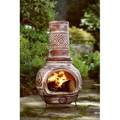 Charming Mexican Clay Chimenea Outdoor Fireplace, 42 X 17 In.: Model# ACH001764