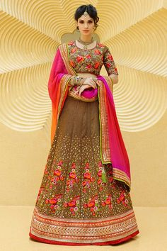 #AndaazFashion presents Dark beige Art Silk Lehenga Choli and Crepe Dupatta   http://www.andaazfashion.fr/womens/lehenga-choli/buy-online-bridal-lehenga-dark-beige-art-silk-chaniya-choli-andaaz-fashion-dmv8512.html