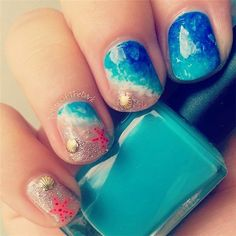 Summer beach nail art. Would be super cute for hawaii.